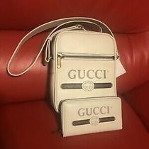 Auth Bnwt Gucci Logo Messenger Bag & Wallet Cream Calf Leather Photo