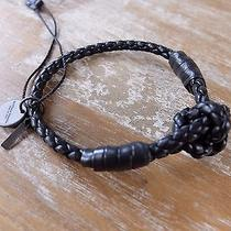Auth Bottega Veneta Black Intrecciato Leather Bracelet - Size Small S - Nwot Photo