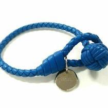 Auth Bottega Veneta Intrecciato Blue Silver Leather Hardware Bracelet Photo