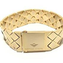Auth Bottega Veneta Intrecciato Gold Hardware Bracelet Photo