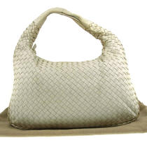 Auth Bottega Veneta Intrecciato Hand Tote Hobo Bag White Leather Vintage E02642 Photo