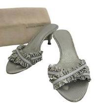 Auth Bottega Veneta Sandals Mules Us Size 6 Silver Leather Worn Out - E33067 Photo