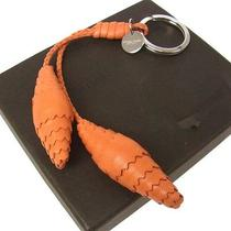Auth Bottega Veneta Vintage Intorechato Leather Key Chain Ring Orange C02468 Photo