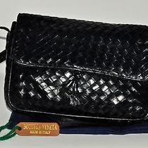 Auth Bottega Veneta Vntg Intrecciato Shoulder Bag Black Lamp Leather Italy Med. Photo