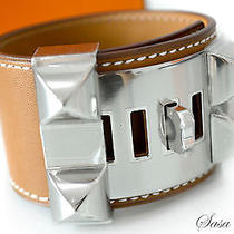 Auth Brand New Hermes Collier De Chien Cdc Bracelet Fauve Brown Phw Size S Photo