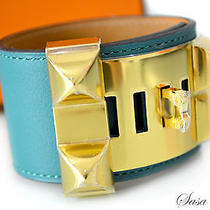 Auth Brand New Hermes Collier De Chien Cdc Bracelet Malachite Green Ghw Size S Photo