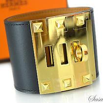 Auth Brand New Hermes Kelly Dog Extreme Cdc Bracelet Black Gold Size S Photo