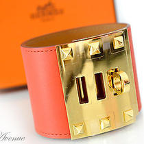 Auth Brand New Hermes Kelly Dog Extreme Cdc Bracelet Cappucine Red Gold Size S Photo