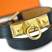 Auth Brand New Hermes Rivale Double Tour Medor Bracelet Black Gold Size Xs Photo