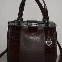 Auth Brighton Brown Croc Embossed Leather Satchel Shoulderbag Purse Barely Used Photo