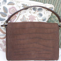 Auth Brown Nubuck Croc Print Catwalk Bag Borsa Sac Photo