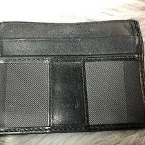 Auth. Burberry Black Leather Logo Men's Card Id Case Clear Slip Pocket 4