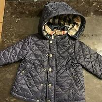 Auth Burberry Children Quilted Jacket 6m Navy W/ Detachable Hood Baby Infant Photo