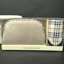 Auth Burberry Pouch & Large Handkerchief Set Beige Check W/ Box 05120050100 5265 Photo