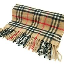 Auth Burberry's Brown Black Red Cashmere Scarf Photo