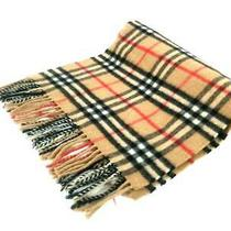 Auth Burberry's Light Brown Black Red Cashmere Scarf Photo