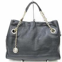 Auth Bvlgari Calfskin Chain Shoulder Tote Bag Handbag Black Hardware Gold Photo