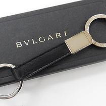 Auth Bvlgari Key Ring Holder Logos Leather Silver Tone Black 13110546700 2146 Photo