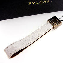 Auth Bvlgari Keychain Other White Leather J1945 Photo