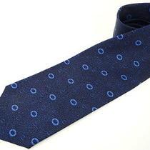 Auth Bvlgari Neck Tie Men's Seven Fold Dark Blue Ring Motif 98110030500 2276 Photo