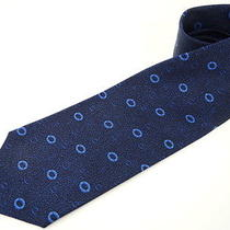 Auth Bvlgari Neck Tie Men's Seven Fold Dark Blue Ring Motif 98110030500 2276 Photo