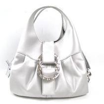 Auth Bvlgari Silk Satin Chandra Handbag Shoulder Bag Crossbody Silver Photo