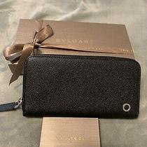 Auth Bvlgari  Zippy Wallet Black With Box Photo