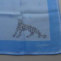 Auth Cartier Cerulean Blue Silk Chiffon Small Scarf or Bandana W/ Panther & Logo Photo
