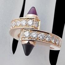 Auth Cartier Diamond Menotto Rhodolite Garnet Ring Size 55.5(usa)(M 25.4.24) Photo