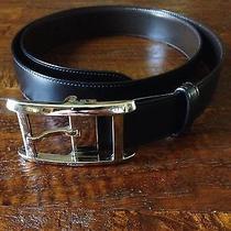 Auth Cartier Goldtone Buckle Belt Black/brown Leather Made France 85cm/33.5