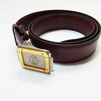 Auth Cartier Must De Santos Buckle Bordeaux Leather Men's Unisex Belt Band Photo