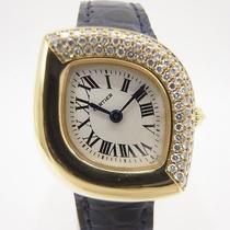 Auth Cartier Navette k18yg&leather&diamond Bezel Women's Quartz 108615 Photo