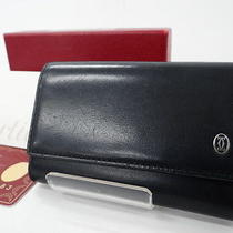 Auth Cartier Paris Key Holder Case 6 Ring Leather Black Silver 15110439800 D197 Photo