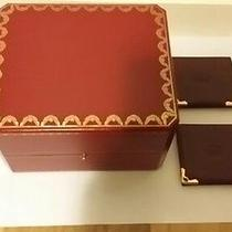 Auth Cartier Red Leather Watch Box With 2 Pcs of Picture Wallet Photo