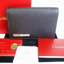 Auth Cartier Santos Black Leather Business Card Credit Card Cases 7812 Photo