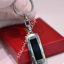 Auth Cartier Stainless Steel Santos De Cartier Lacquer Key Chain Silver T1220650 Photo