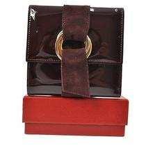 Auth Cartier Trinity Ring Trifold Wallet Purple Patent Leather Excellent 3672m Photo