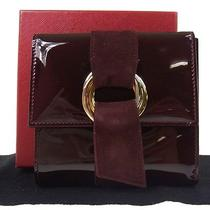 Auth Cartier Trinity Ring Trifold Wallet Red Patent Leather Excellent M03672 Photo
