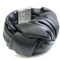Auth Celine Bracelet Leather Black S (Bf075346) Photo