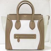 Auth Celine Calfskin Luggage Medium Shopping Tote Bag Handbag Tri-Color Photo