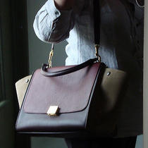 Auth Celine Dark Rust Medium Trapeze Bag Borsa Sac Photo