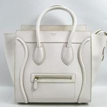 Auth Celine Embossed Leather Mini Luggage Tote Bag Handbag Off White Photo