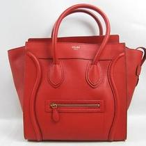 Auth Celine Embossed Leather Mini Luggage Tote Bag Handbag Red Photo