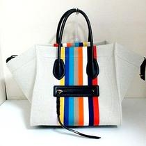 Auth Celine Ivory Multi Luggage Small Square Phantom 169952xcc.14ml Tote Bag Photo