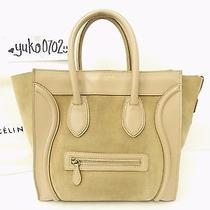 Auth Celine Khaki Suede Leather Luggage Micro Shopper Hand Bag Gold Hw R1053 Photo