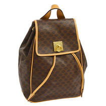 Auth Celine Logos Macadam Backpack Hand Bag Brown Pvc Leather Vintage A31178 Photo