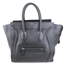 Auth Celine Luggage Mini Shopper Black Drummed Leather Calfskin Tote Bag 22083 Photo