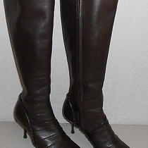 Auth Celine Made in Italy Brown Soft Lambskin Leather Boots Sz 38.5 Xclnt Photo
