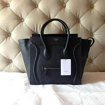 Auth Celine Mini Luggage Bag in Black Drummed Leather (Phantom Nano Trapeze) Photo