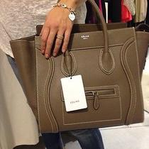 Auth Celine Mini Luggage Bag in Khaki Drummed Leather (Phantom Nano Trapeze) Photo